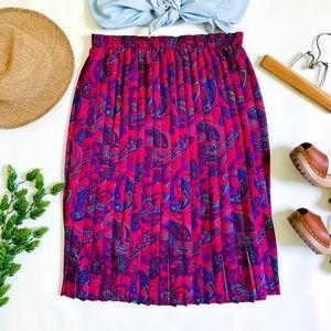 Vintage Plus Size Petite Pleated Paisley Skirt